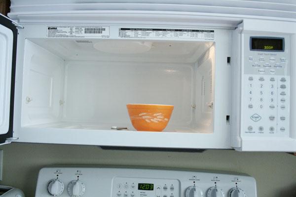 Inside a microwave