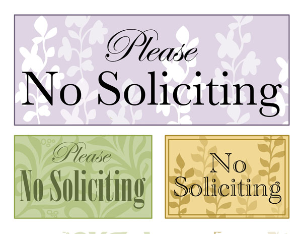 This is a graphic of Printable No Soliciting Sign intended for classy